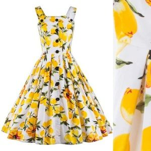 Button Front Lemon A-Line Dress Vintage Inspired